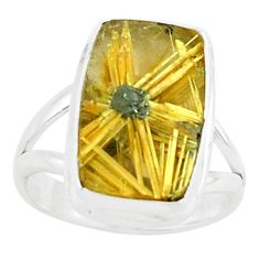 925 silver 6.53cts natural golden half star rutile solitaire ring size 6 p76009