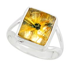 925 silver 5.38cts natural golden half star rutile solitaire ring size 8 p76018