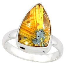 925 silver 6.10cts natural golden half star rutile solitaire ring size 8 p76020