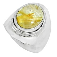 925 silver 5.28cts natural golden rutile solitaire ring jewelry size 8 p70307