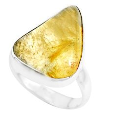 925 silver natural golden tourmaline rutile fancy solitaire ring size 8 p44359