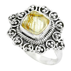 925 silver 3.38cts natural golden tourmaline rutile solitaire ring size 8 p63145
