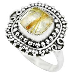 925 silver 3.38cts natural golden tourmaline rutile solitaire ring size 7 p63150