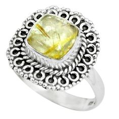 925 silver 3.04cts natural golden tourmaline rutile solitaire ring size 8 p63159