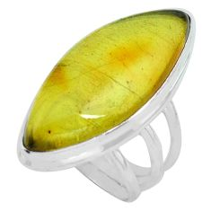 925 silver natural green amber from colombia solitaire ring size 8.5 p68365