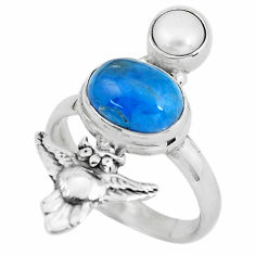 925 silver 5.75cts natural green apatite (madagascar) owl ring size 8.5 p61055