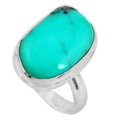 925 silver natural green campitos turquoise fancy solitaire ring size 6.5 p46419