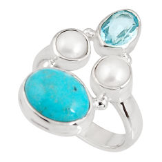 925 silver 7.71cts natural green campitos turquoise topaz ring size 6.5 p90816