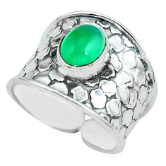 925 silver 3.29cts natural green chalcedony solitaire ring jewelry size 9 p68470
