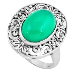 925 silver 6.57cts natural green chalcedony solitaire ring size 8.5 p61197