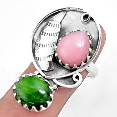925 silver natural green chrome diopside opal ring jewelry size 8 p42383