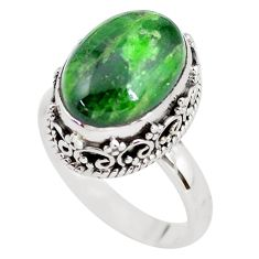 925 silver 6.76cts natural green chrome diopside solitaire ring size 8 p56500
