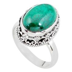 925 silver 6.96cts natural green chrysocolla oval solitaire ring size 7.5 p56612