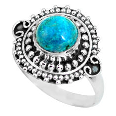 925 silver 3.24cts natural green chrysocolla solitaire ring size 8 p63052
