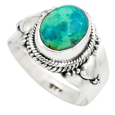 925 silver 4.06cts natural green chrysocolla solitaire ring size 7.5 p71788