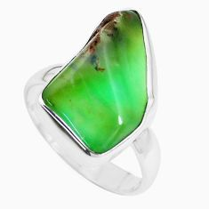 925 silver 10.32cts natural green chrysoprase fancy solitaire ring size 7 p44333