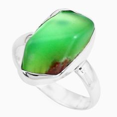 925 silver 8.73cts natural green chrysoprase fancy solitaire ring size 7 p44337