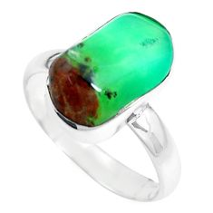 925 silver 8.51cts natural green chrysoprase solitaire ring size 8 p44324