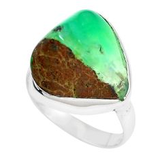 925 silver 10.76cts natural green chrysoprase solitaire ring size 6.5 p44329