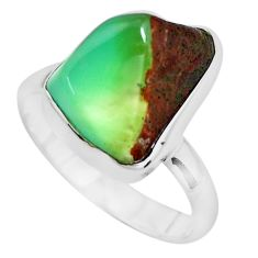 925 silver 8.06cts natural green chrysoprase tourmaline rough ring size 8 p44396