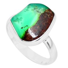 925 silver 7.24cts natural green chrysoprase tourmaline rough ring size 9 p44400