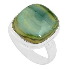 925 silver 11.44cts natural green imperial jasper solitaire ring size 8.5 p80691
