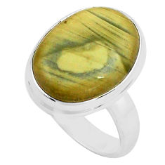 925 silver 10.78cts natural green imperial jasper solitaire ring size 6.5 p80787