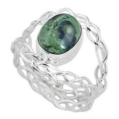 925 silver 4.08cts natural green kambaba jasper solitaire ring size 9 p61317