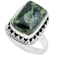 925 silver 6.96cts natural green kambaba jasper solitaire ring size 7.5 p67524