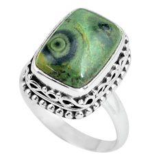 925 silver 6.96cts natural green kambaba jasper solitaire ring size 8 p67528