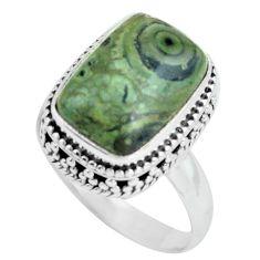 925 silver 6.76cts natural green kambaba jasper solitaire ring size 8 p67532