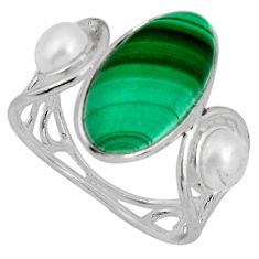925 silver 8.03cts natural green malachite (pilot's stone) ring size 6.5 p89887