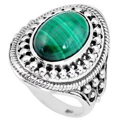 925 silver natural green malachite (pilot's stone) solitaire ring size 9 p61154