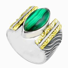 925 silver 6.53cts natural green malachite 14k gold solitaire ring size 7 p87924