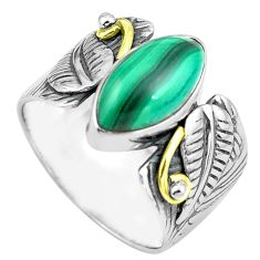 925 silver 5.98cts natural green malachite gold solitaire ring size 9.5 p87949