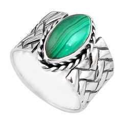 925 silver 6.42cts natural green malachite marquise solitaire ring size 8 p87968