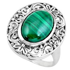 925 silver 6.89cts natural green malachite oval solitaire ring size 8.5 p55897