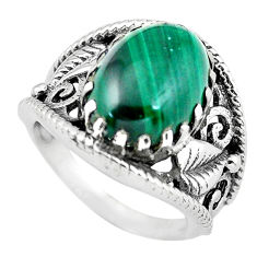925 silver 6.96cts natural green malachite oval solitaire ring size 7 p55975