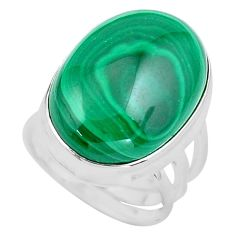 925 silver 15.74cts natural green malachite oval solitaire ring size 5 p86092