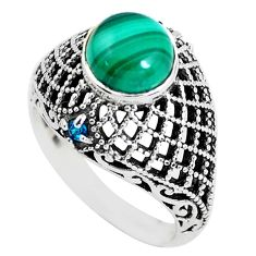 Clearance Sale- 925 silver 2.52cts natural green malachite round solitaire ring size 7 d31307