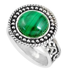 925 silver 5.51cts natural green malachite round solitaire ring size 8 p56010