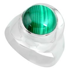 925 silver 5.54cts natural green malachite round solitaire ring size 8.5 p70289