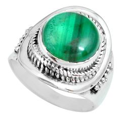 925 silver 6.36cts natural green malachite round solitaire ring size 7 p70291