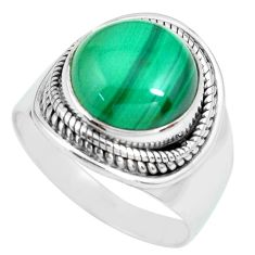 925 silver 6.33cts natural green malachite round solitaire ring size 7.5 p70293