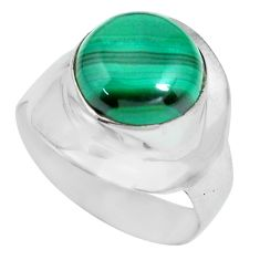 925 silver 6.36cts natural green malachite round solitaire ring size 8 p70298