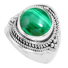 925 silver 6.32cts natural green malachite round solitaire ring size 7 p70300