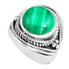 925 silver 6.54cts natural green malachite solitaire ring jewelry size 7 p70287