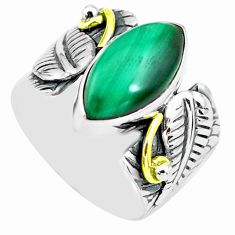 925 silver 6.76cts natural green malachite solitaire ring size 6.5 p77191