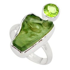925 silver 8.80cts natural green moldavite (genuine czech) ring size 8 p80257