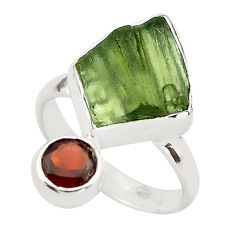 925 silver 7.67cts natural green moldavite (genuine czech) ring size 7 p80280